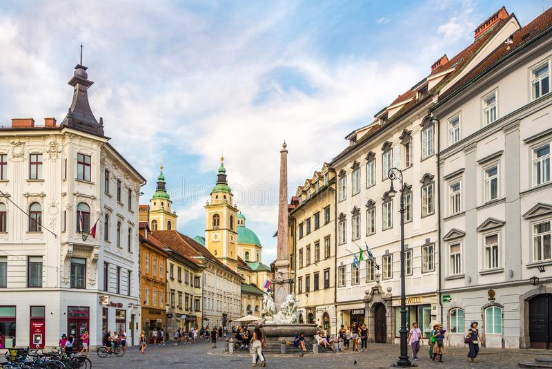 Evening at the Main Square of Ljubljana in Slovenia. LJUBLJANA,SLOVENIA - SEPTEMBER 1,2019 - Evening at the Main Square of Ljubljana. Ljubljana is the capital royalty free stock photography