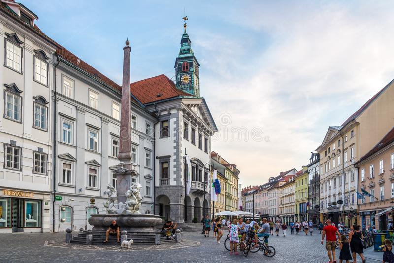 Evening at the Main Square of Ljubljana in Slovenia. LJUBLJANA,SLOVENIA - SEPTEMBER 1,2019 - Evening at the Main Square of Ljubljana. Ljubljana is the capital royalty free stock image