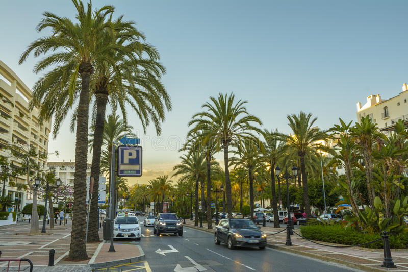 Evening in Marbella city, Andalucia, Spain stock photo