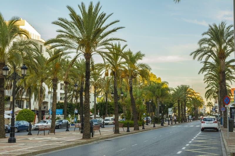 Evening in Marbella city, Andalucia, Spain stock photos