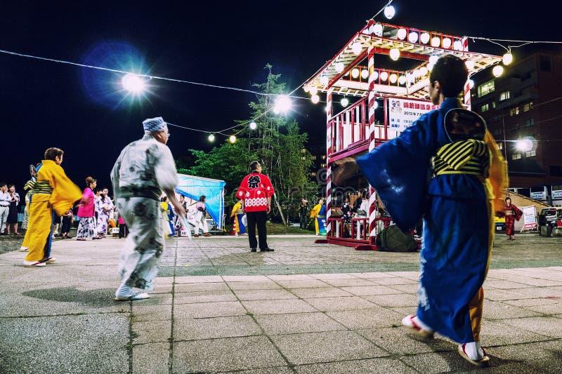 Evening Matsuri Scene Lake Toya Hokkaido royalty free stock photo