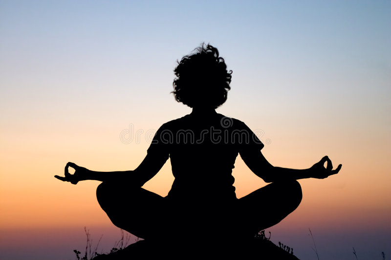 Evening meditation stock photography