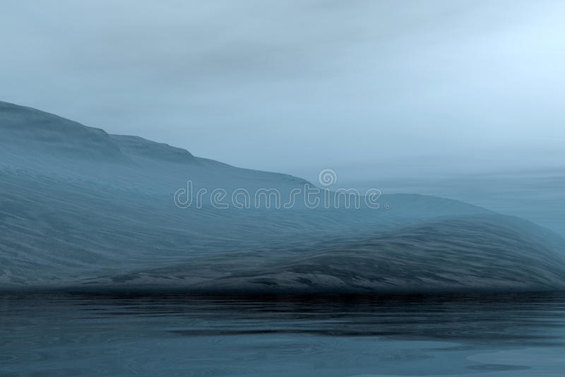 Evening misty landscape stock photo