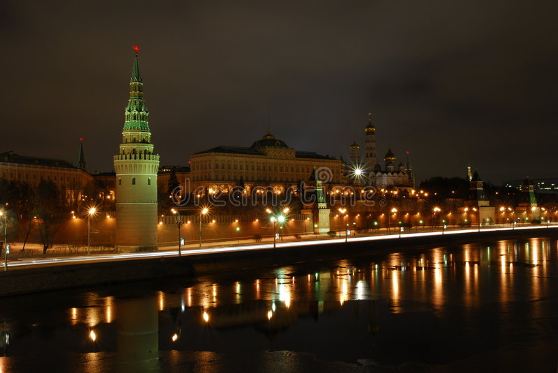 Evening Moscow. Quay of the river of Moscow. The Kremlin wall stock photos