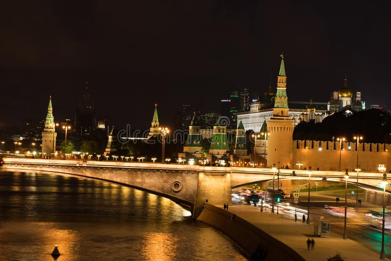 At Evening Moscow Kremlin And Moscow River. royalty free stock images