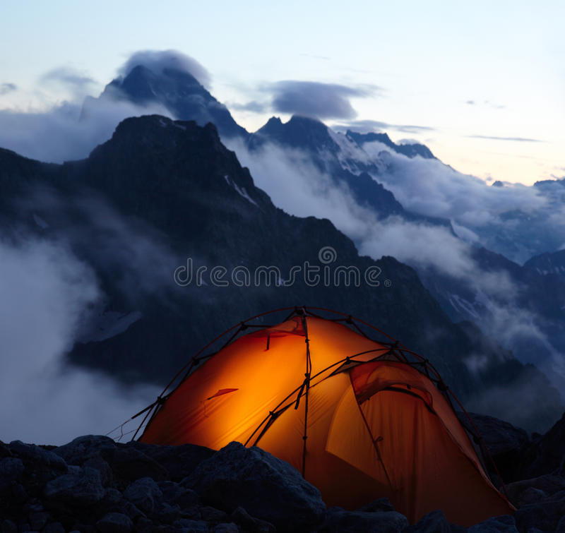 Evening in mountains stock image