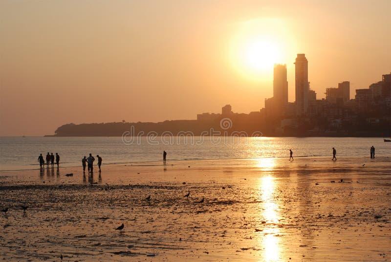 Download Evening Mumbai, Chowpatty Beach Stock Image - Image: 4884101