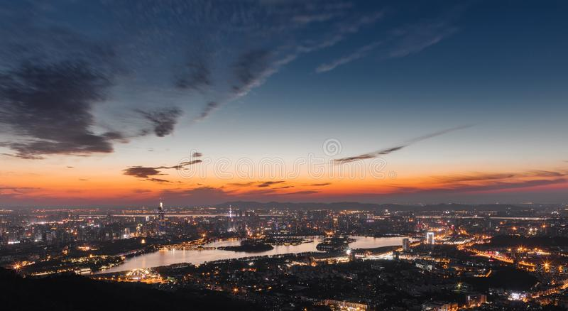 Evening in Nanjing. Nanjing, China is a famous historical and cultural city with more than 7000 years of civilization. Nanjing now has a total area of 6587 stock photography