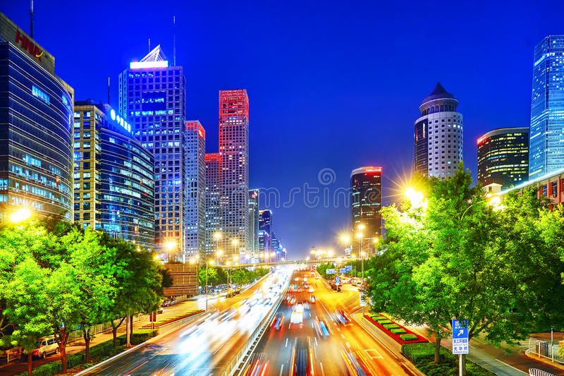Evening, night modern Beijing stock photography