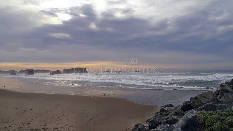 Evening ocean beach stock photos