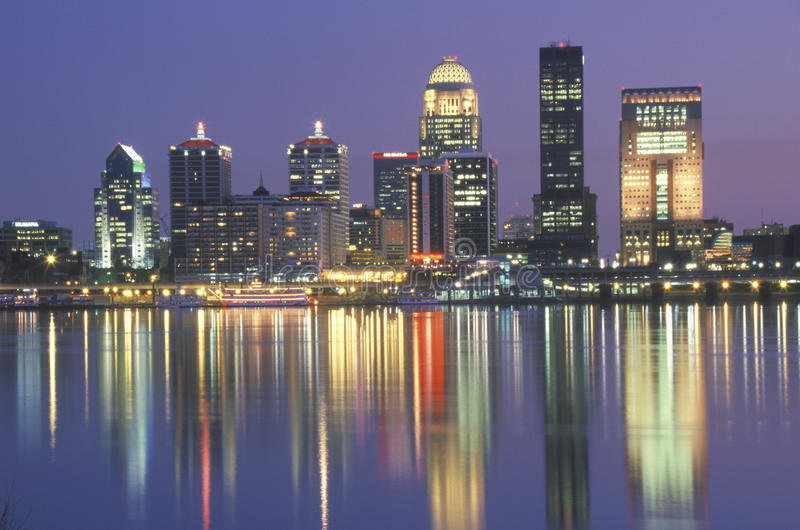 Evening on Ohio River and Louisville skyline, KY shot from Indiana stock photography