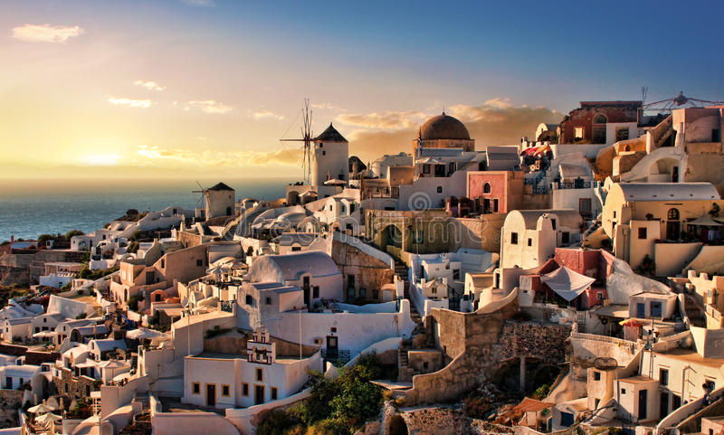 Evening In Oia Santorini Royalty Free Stock Images