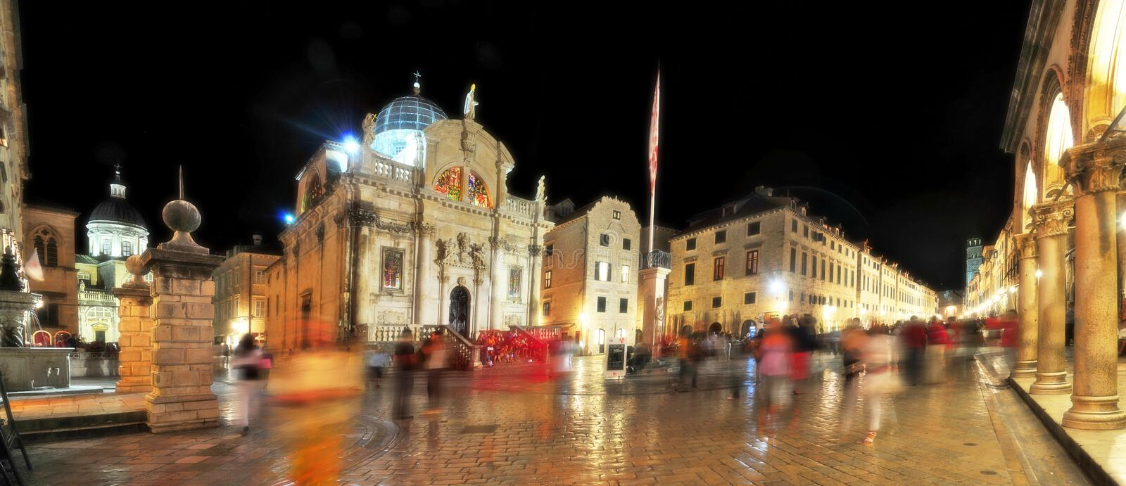 Evening Old Town Square in Dubrovnik. Croatia stock photos