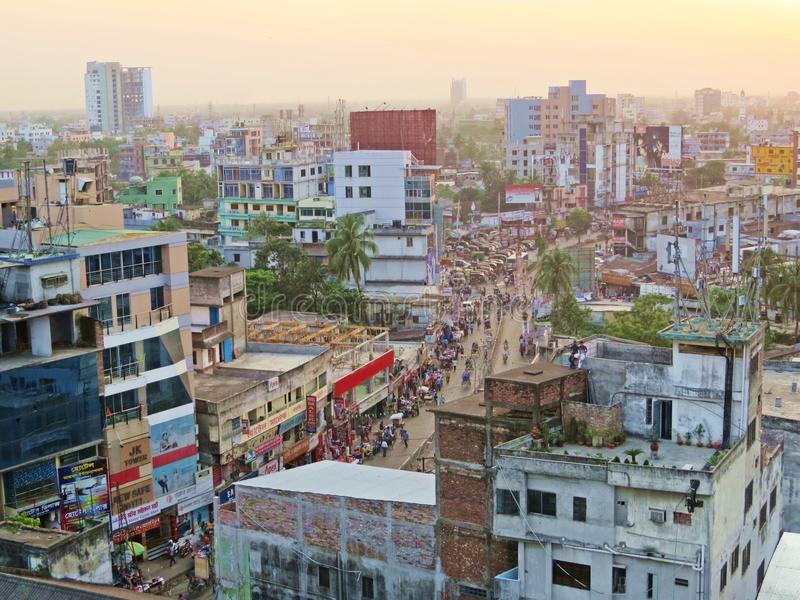 View over the city of Khulna, Bangladesh. Evening over the skyline of Khulna a.k.a Gate into the Sunderbans, Bangladesh royalty free stock images