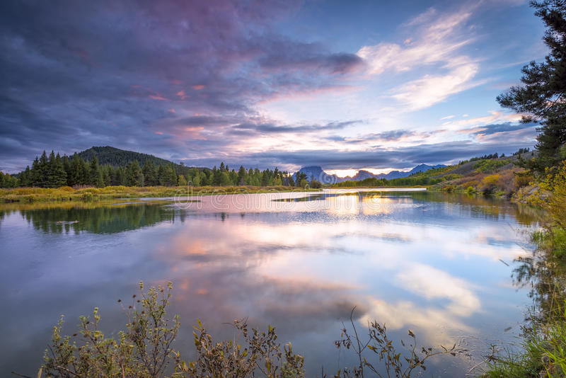 Evening at Oxbow Bend royalty free stock photo