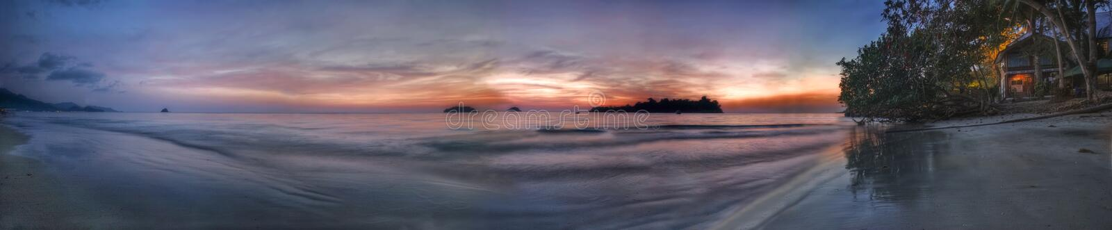 Evening panorama of beach of Koh Chang stock image