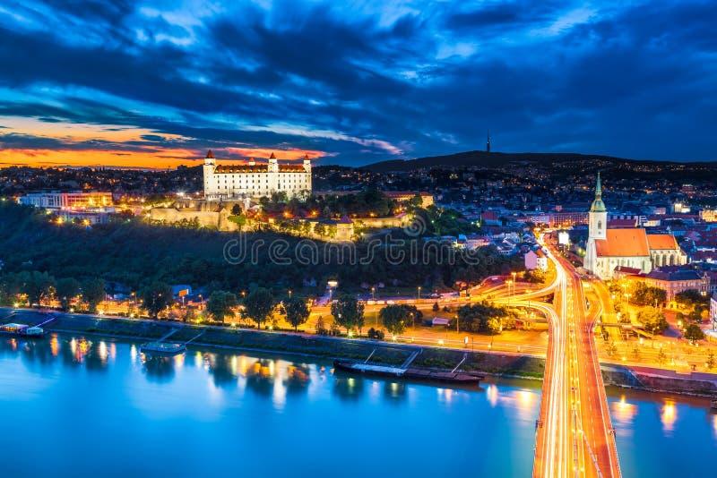 Bratislava, Slovakia. Evening Panorama of Bratislava, Slovakia royalty free stock photography