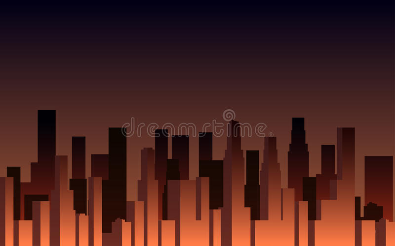 Evening panorama of the city. Skyscrapers at sunset. City landscape. Vector stock illustration