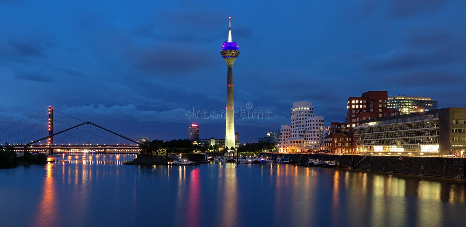 Evening panorama of the Media Harbor in Dusseldorf royalty free stock image