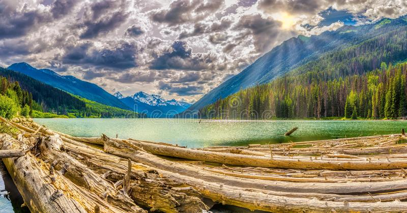 Evening panoramic view at the Mount Rhor mountain from Duffey lake Provincial Park in British Columbia - Canada royalty free stock photo