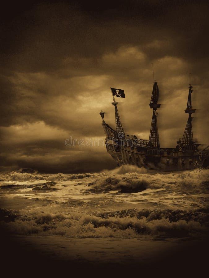 Vintage Pirate Seas. Evening pirate voyage on stormy seas. This is the sepia version of my original Pirate Seas royalty free stock image
