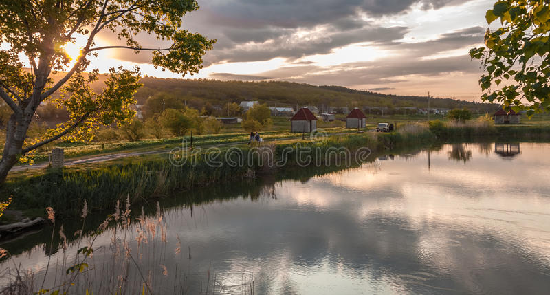 Evening Pond royalty free stock photography
