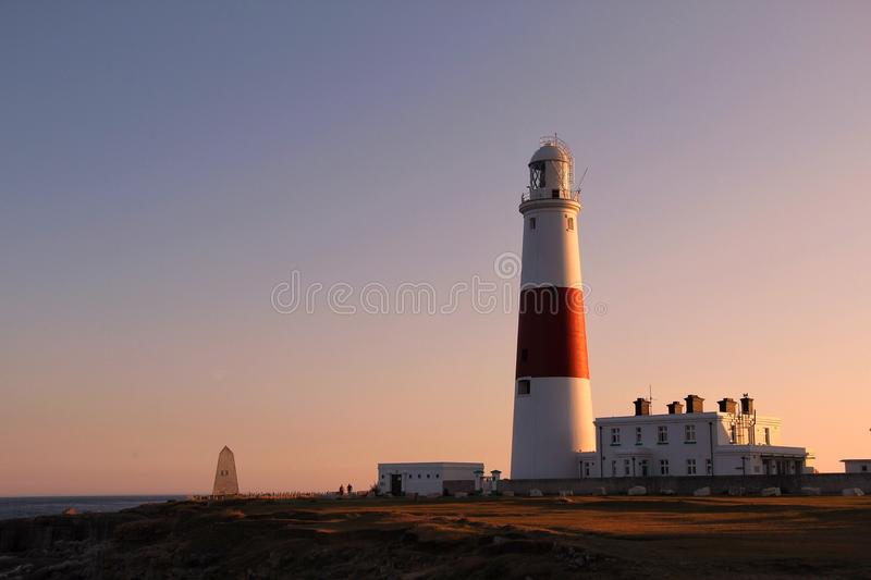 Evening At Portland Bill Lighthouse. Portland Bill Lighthouse - now managed by Trinity House and fully automated. Popular tourist attraction on the Isle of royalty free stock images