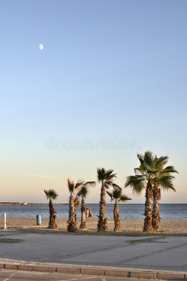 Evening on quay Santa Pola stock images