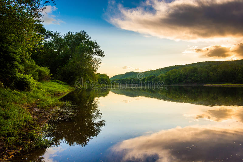 Evening reflections in the Delaware River, at Delaware Water Gap. National Recreational Area, New Jersey royalty free stock photo
