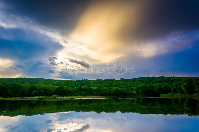 Evening reflections in the Delaware River, at Delaware Water Gap. National Recreational Area, New Jersey royalty free stock images