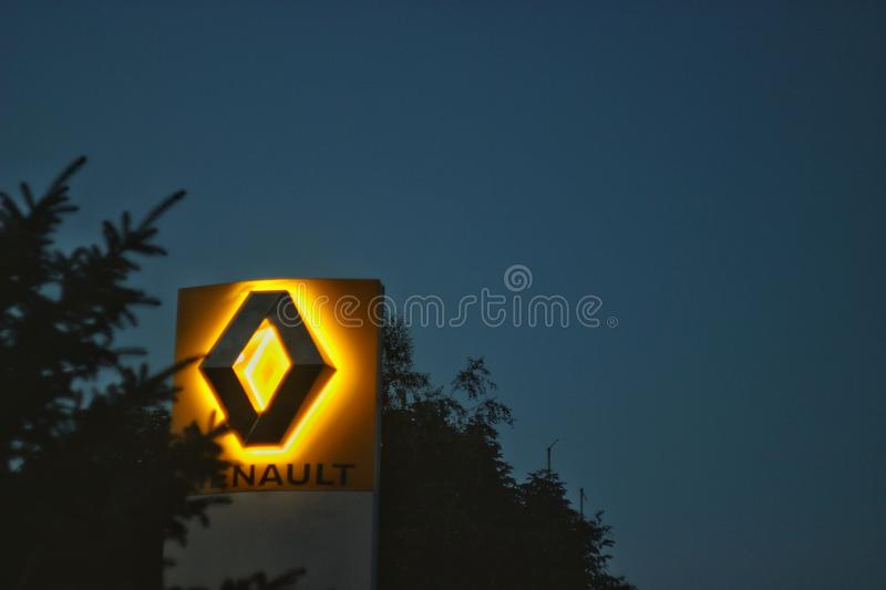 Evening Renault. Renault, light, lightbox, yellow, yellowlight royalty free stock photos