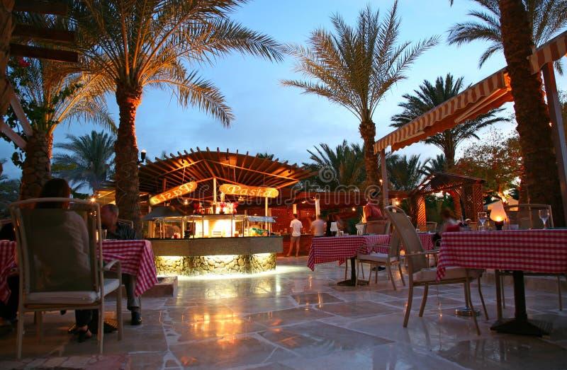 Evening restaurant in hotel royalty free stock photos