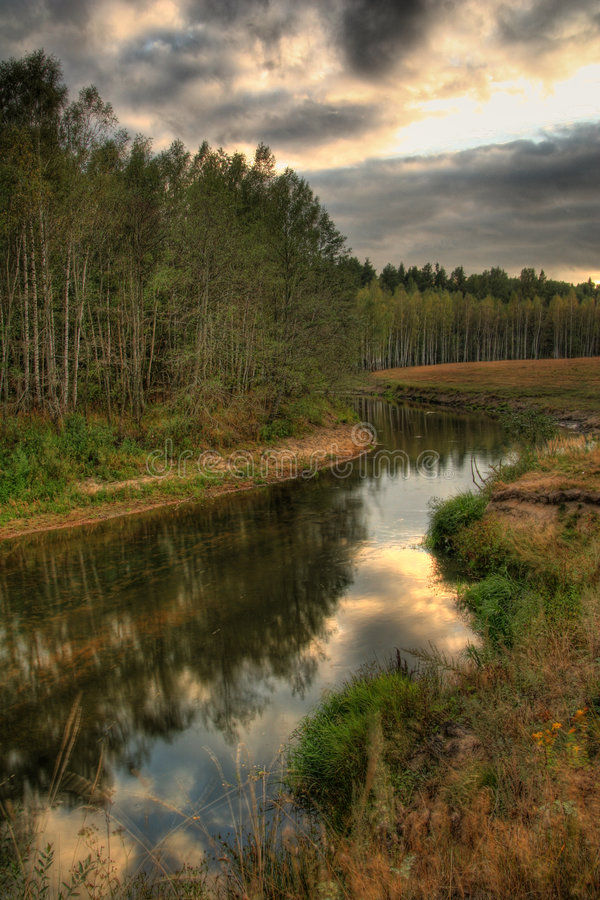 Evening on the river royalty free stock photography