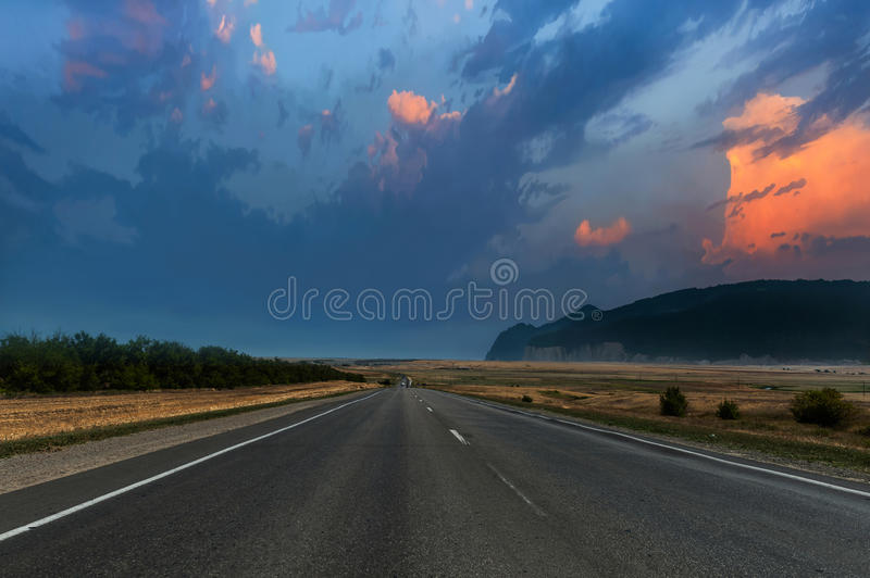 Evening road royalty free stock photo