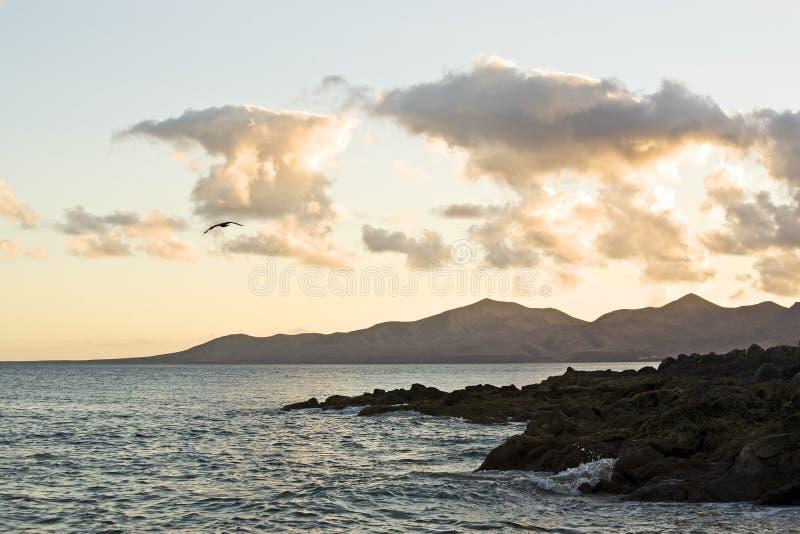 Evening At Rocky Coast Of Lanzarote Stock Photo
