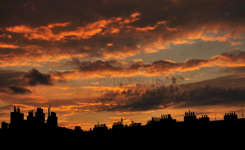 Evening roof silhouette in Prague stock photo