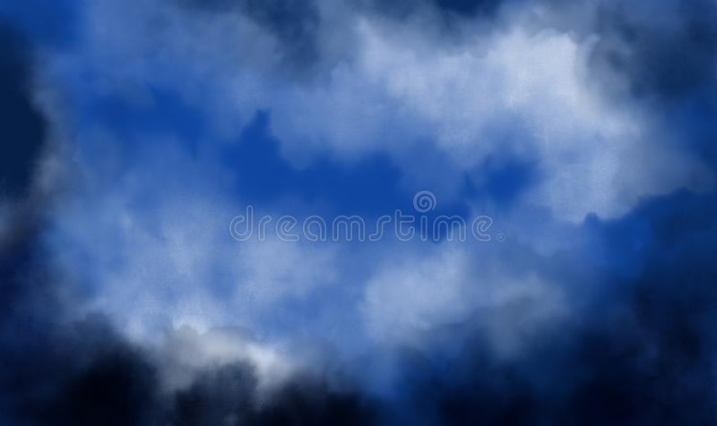 Evening scene with dark trees, blue sky and heavy white clouds. Stormy weather. Watercolor illustration with copy space for writin vector illustration