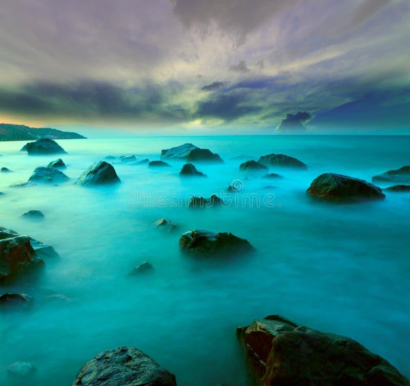 Evening scene on sea royalty free stock photo