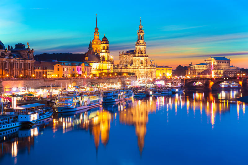 Evening scenery of the Old Town in Dresden, Germany. Scenic summer evening view of the Old Town architecture with Elbe river embankment in Dresden, Saxony stock photography