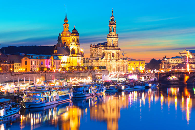 Evening scenery of the Old Town in Dresden, Germany. Scenic summer evening view of the Old Town architecture with Elbe river embankment in Dresden, Saxony royalty free stock photography