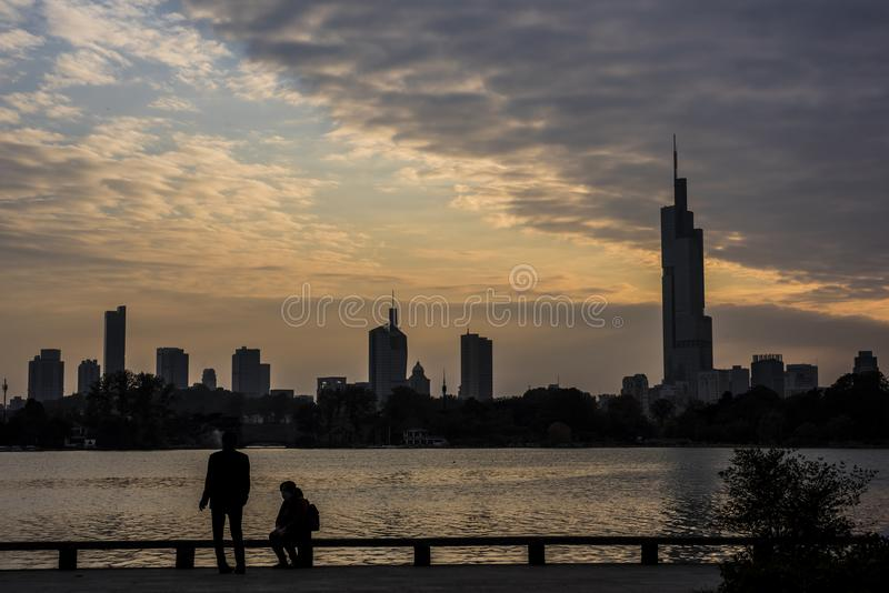 The evening scenery of the Xuanwu lake in Nanjing royalty free stock images