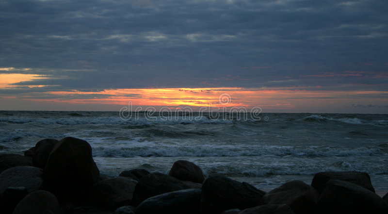 Download Evening by the sea IV stock image. Image of waves, stone - 14131