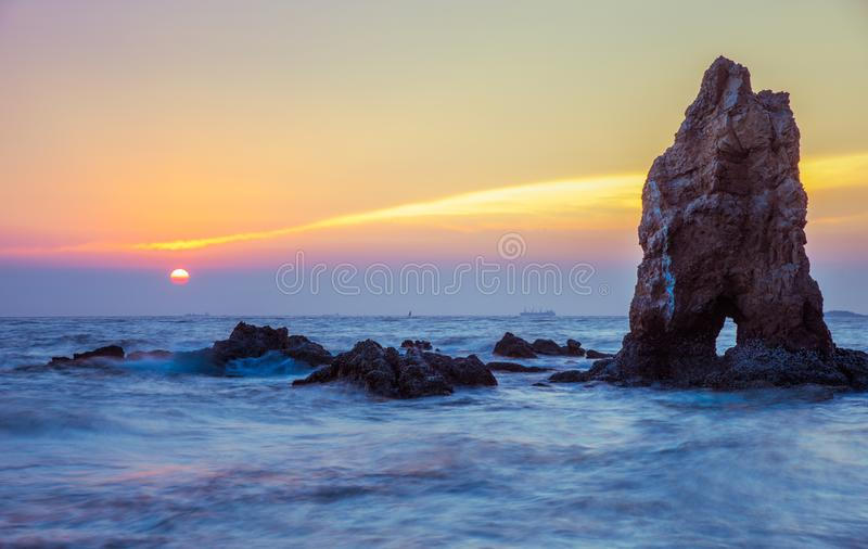Evening sea on blue sky stock images