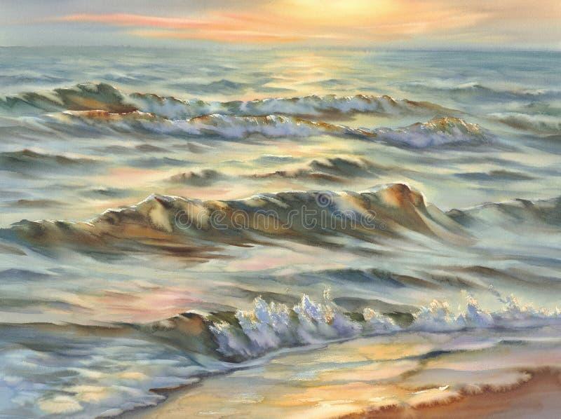 Evening seascape watercolor stock photo