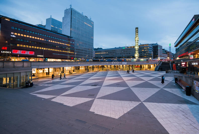 Evening at Sergels torg, Stockholm, Sweden royalty free stock photo