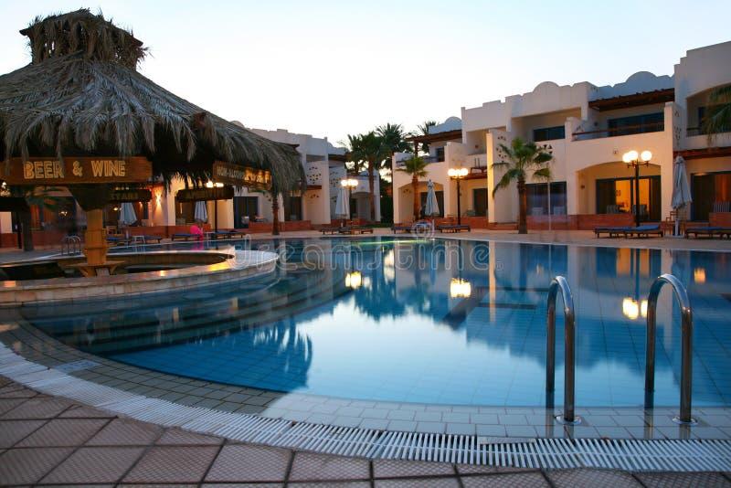 Evening shot of swimming pool royalty free stock photos