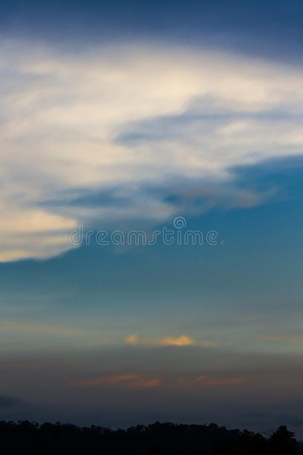 Evening Sky, Amazing Sunset Cloud Background, Fantastic Nature, Dramatic bright Sunrise, Dark Cloudy Twilight on Summer Sky. stock photos