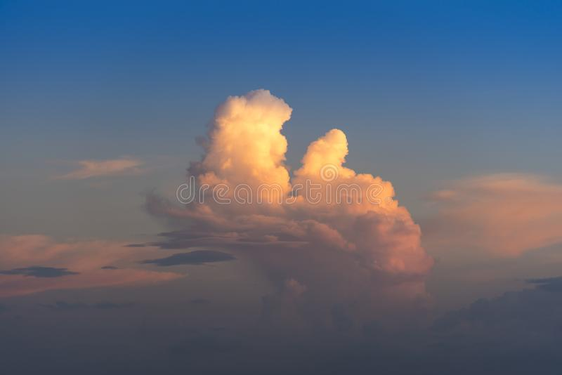 Evening sky with dramatic clouds over the sea with sculpted 3D cloudscape. With striking light to make a photogenic background royalty free stock photos