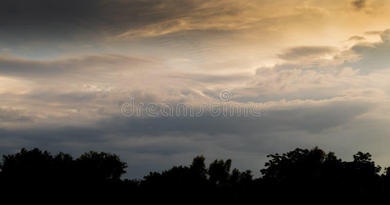 Evening sky has beautiful yellow light. The evening sky has beautiful yellow light royalty free stock photo