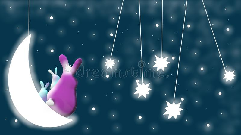 Evening sky with sweet bunnies 3D, moon, stars and blue, starry background. The evening sky with moon, stars, sweet bunnies for babies, children, animation of stock illustration